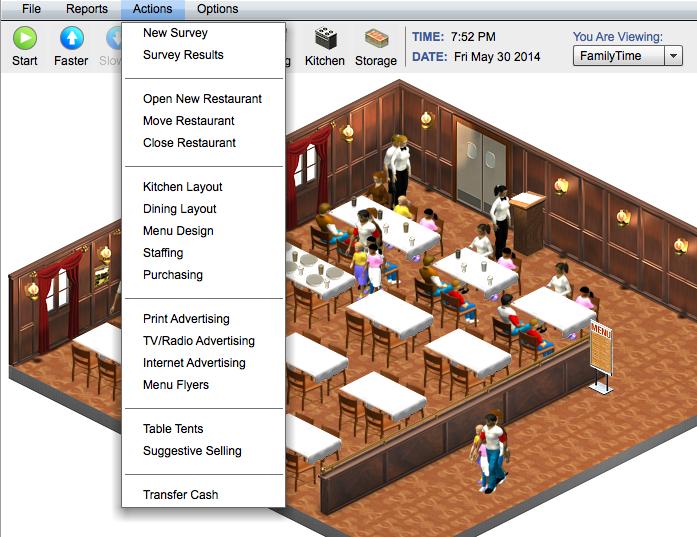 Interactive online restaurant management sim for college