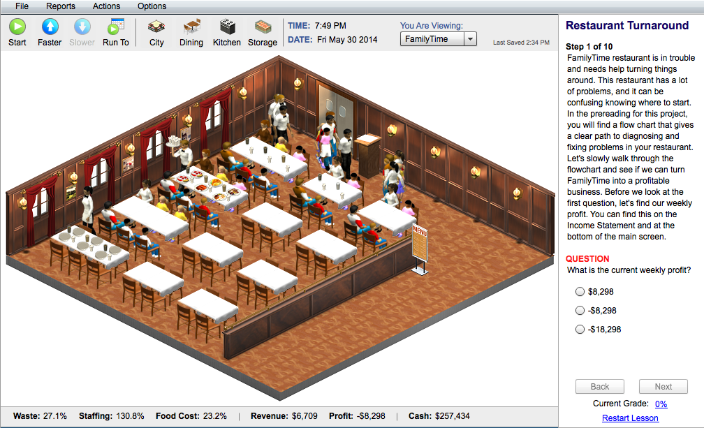Restaurant Open Kitchen Layout Interactive Online Management Sim For College Students