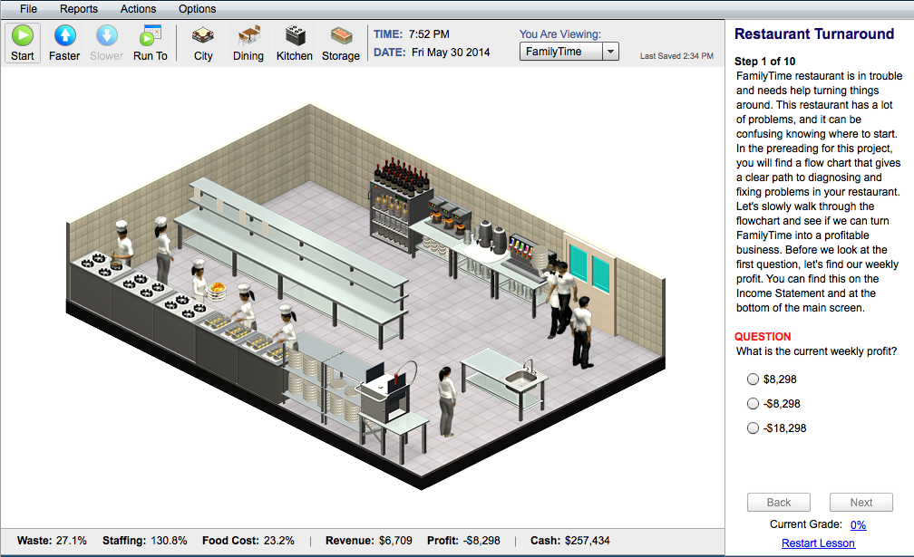 Restaurant Kitchen Setup interactive online restaurant management sim for college students